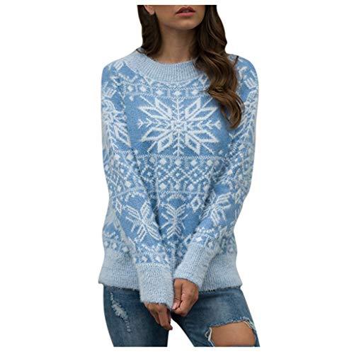 ZODOF Jerseys de Navidad Mujer Prendas de Punto Estampado de Copo de Nieve Manga Larga Cuello Redondo suéter de...
