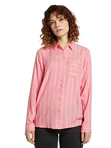 TOM TAILOR Damen Blusen, Shirts & Hemden Gestreifte Hemdbluse Peach Stripe Vertical,42,26049,5455