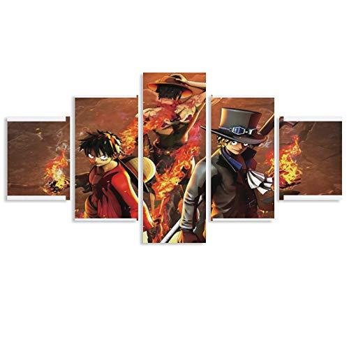 WERTQ One Piece Imagenes para PC - Póster artístico de pared - Impresión de cuadro moderna - Decoración para habitación familiar - 40 x 22 cm