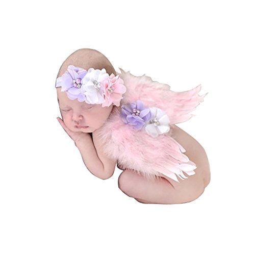 Alas de ángel de plumas de bebé con diadema, traje de prop de foto recién nacido - rosa