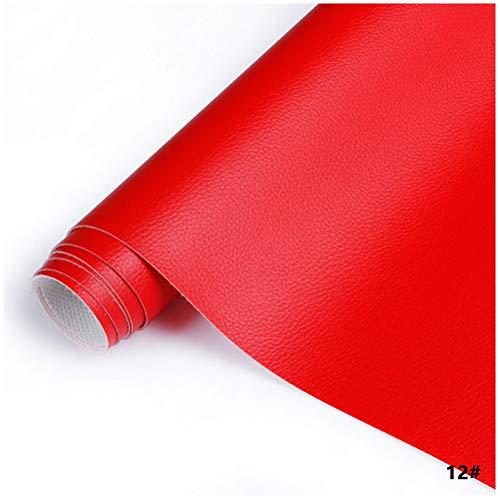 MAGFYLY Cuero para tapizar Cuero Sintético 138 X100 Cm , PU Tela de Cuero de Imitación Tapicería Manualidades Costuras de Bricolaje Sofá Bolso Forro de Coche Asiento de Coche - Rojo