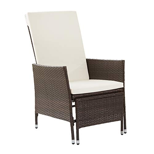 Peaktop Patio High Back Chair PE Wicker with Pull-Out Ottoman and Cushions, Brown and White