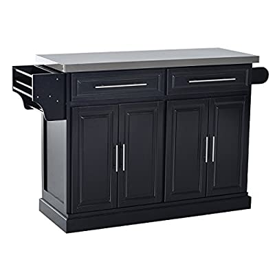 HOMCOM Portable Multi-Storage Rolling Kitchen Island Storage Cart with Stainless Steel Top by Aosom LLC