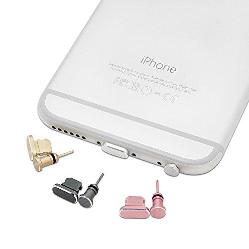 innoGadgets Staubschutz Stöpsel kompatibel mit iPhone 5/6   Staubstecker, Schutz für Kopfhörer und Lightning Anschluss - iPod   Aus hochwertigem Aluminium + GRATIS Silikon-Clip   Schwarz