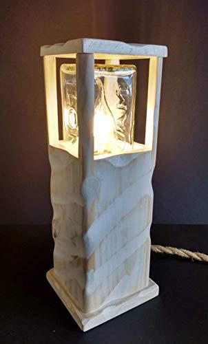 Lámpara led blanca de madera reciclada de palet hecho a mano