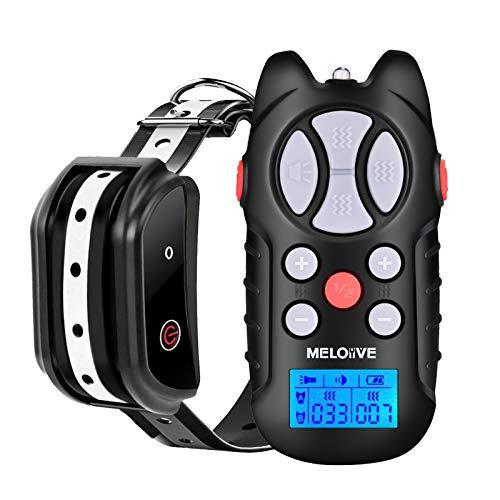 Meloive Collar Recargable de Adiestramiento de Perros, 1000m de Alcance a Distancia con Modos de Vibración, Sonido y Luz, Collar Resistente al Agua IPX67 con Bloqueo de Seguridad del Teclado.