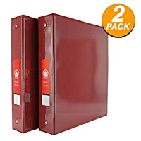 """Emraw Super Great 1 1/2"""" 3-Ring View Binder with 2-Pockets - Available in Red - Great for School, Home, Office (2-Pack) [並行輸入品]"""
