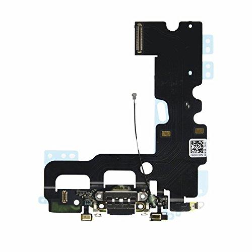 OnlyTech - Conector de Carga de Repuesto Compatible con iPhone 7 - Dock de Repuesto con Cable Flex, Micrófono y Antena. Color Negro