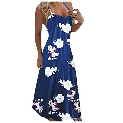 Janly Clearance Sale Vestido de túnica midi para mujer, con cuello en V, estampado floral, sin mangas, elegante, para verano (azul oscuro-5XL)