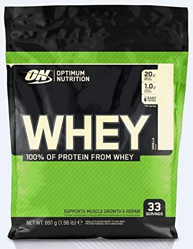 Optimum Nutrition ON Whey Protein Pulver, Eiweißpulver Muskelaufbau, Protein Shake mit 20g Protein pro Portion, Vanilla, 33 Portionen, 0,9kg