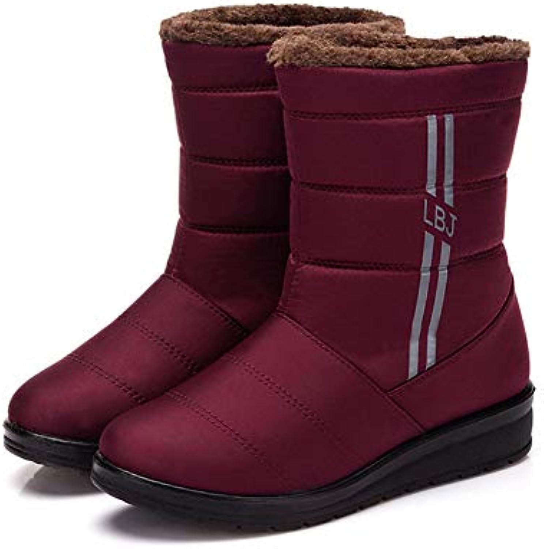 T-JULY Women Mid Calf Boots Winter Waterproof Snow Boots Female Low Heel shoes