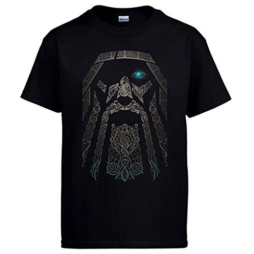Diver Camisetas Camiseta Rostro del Dios Vikingo Odín - Negro, XXL