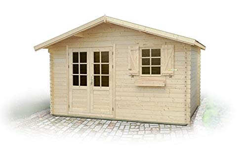 Gartenhaus PO10-34 mm Blockbohlenhaus, Grundfläche: 11,90 m², Satteldach