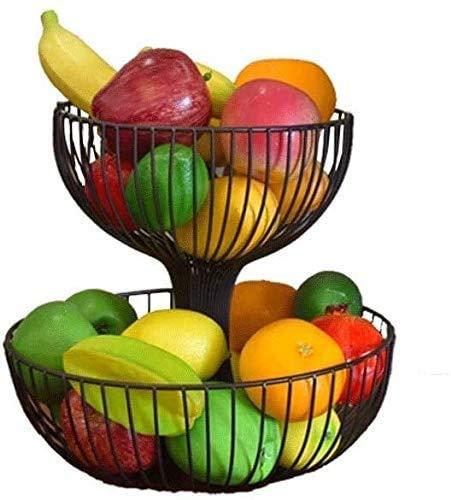 Plato de Frutas Doble Creativo Fruta Cesta Fruta Bandeja Sala De Estar Moda Fruta Tazón Multi-Capa Dulces Tanques Almacenamiento Bandeja De Bandeja Fruta Cesta de Frutas(Color:Bronce)
