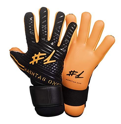 #1 Hashtagone Endboss Schwarz Orange Torwarthandschuhe für Erwachsene & Kinder - Jede Größe - entwickelt vom Torwart Bundesliga Profi - Tormannhandschuhe Herren, Kinder (6 Schwarz Orange)