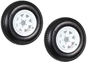 2-Pack Trailer Tire On Rim ST205/75D14 205/75 D 14 in. LRC 5 Lug White Spoke