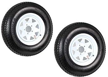 2-Pk Trailer Tire Rim ST205/75D14 14 in Load C 5 Lug White Spoke Wheel