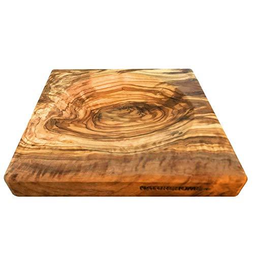 NATUREHOME Tabla para hierbas de madera de olivo para pesar, con práctico compartimento, también como tabla de números de madera o bandeja para dinero, resistente a los arañazos, 18 x 18 x 2,5 cm