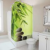 RQPPY Bambus Duschvorhang Anti-Schimmel-Effekt 3D Digitaldruck Duschvorhangringe für Badezimmer White 200x200cm
