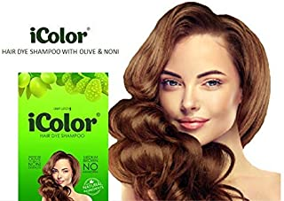 iColor Organic Hair Dye Shampoo Medium Brown 25ml (0.85 ounces) x 10 sachets in a box, shampoo-in hair color, dye, brown hair-in 5 minutes