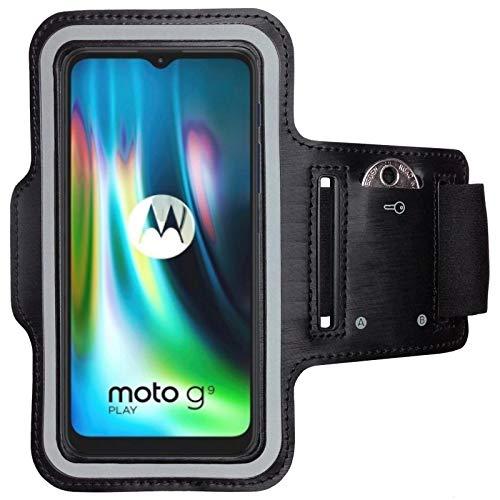CoverKingz Brazalete deportivo para Motorola Moto G9 Play – Brazalete con compartimento para llaves Moto G9 Play – Brazalete deportivo para teléfono móvil – Negro