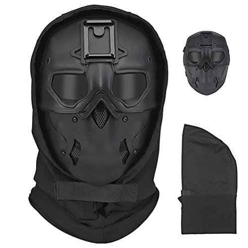 Casque intégral Airsoft - Protection contre le visage - Protection contre l'horreur - Pour Halloween - Pour une fête ou un cosplay - Noir