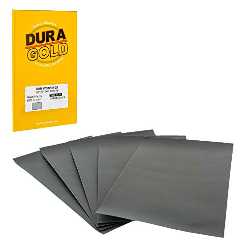 """Dura-Gold - Premium - Wet or Dry - 1200 Grit - Professional Cut to 5-1/2"""" x 9"""" Sheets - Color Sanding and Polishing for Automotive and Woodworking -Box of 25 Sandpaper Finishing Sheets"""