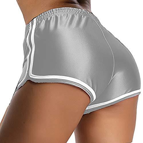 Joker Femminile Smooth Elastica Alto-Vita Pantaloncini Collant E Fitness Push Up Pantaloncini da Corsa Yoga Stretch Silver-L
