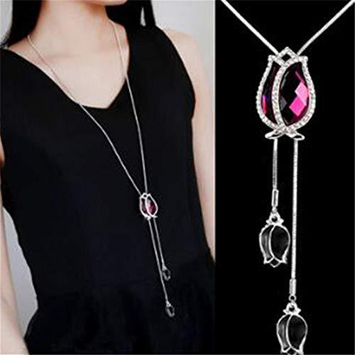 ZYYXB Collar de mujer con colgante de plata para suéter con cadena creativa, collar con colgante de cristal transparente y oro rosa para mamá, collar de plata, fucsia