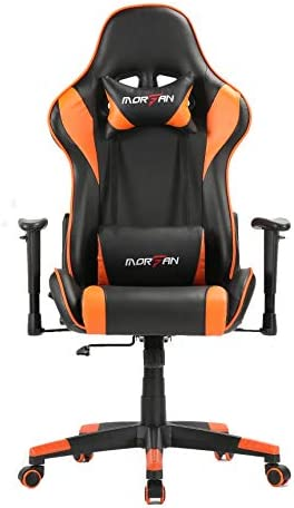 Best Morfan Gaming Chair New Size with Massage and Rocking Function Computer Office Racing Chair (Orange)