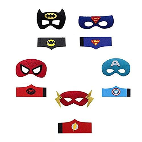 YUNFUN Máscaras de Superhéroe, Pulseras Superhéroe, Máscaras de Cosplay de Superhéroe, Máscaras para Niños y Adultos (Multicolor - A)