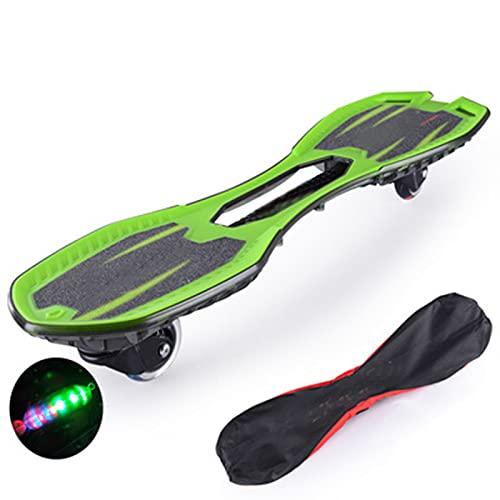 LHY Tablero de vitalidad Intermitente para Principiantes Patineta Youpin patineta de Dos Ruedas para niños Adultos Accesorios de Tabla Larga para Scooter de Swing Juvenil,Verde