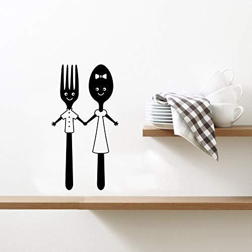 Netter Cartoon Essgeschirr Liebhaber Löffel Gabel Muster Küche Restaurant Wohnkultur Aufkleber Wandaufkleber A4 20x11cm