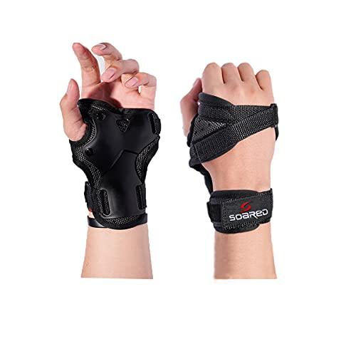 VZF Handgelenkschützer, Skihandschuhe, Verlängerte Handgelenk Palmenschutz, Rollschuhlauf, Harte Stulpen, Einstellbare Skateboardstulpen (M)