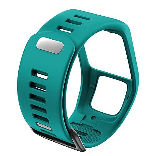 LLMXFC Silicona Reemplazo de Pulsera Reloj Correa para Tomtom Runner 2 3 Spark 3 GPS Reloj Deportivo para Tomtom 2 3 Series Soft Smart Band (Band Color : Gree-Blue)