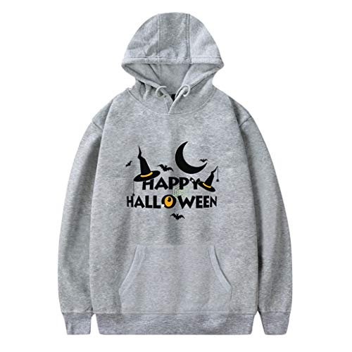 iCerber Halloween Herren Pullover Langarm Paare Absatz Kapuzenpullover Kapuzensweater Hoodie Pullover Einfarbig Sweatshirt Tops in vielen Varianten und Farben(L,D-Grau)