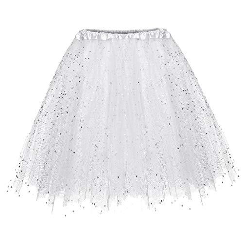 Falda de Tutu Mujer,SHOBDW Niños Princesa Pettiskirt Regalo de cumpleaños Sólido Paillette Elástico 3 Capas Fluffy Mini Falda Corta Adulto Rendimiento Traje Baile Falda(Blanco)