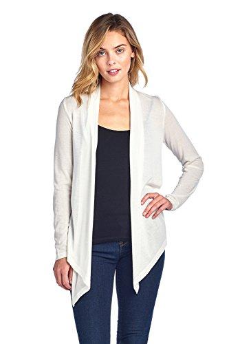 Hollywood Star Fashion Damen Cardigan, langärmelig, Strick, Wasserfall-Front, einfarbig, ideal für draußen - M - elfenbeinfarben