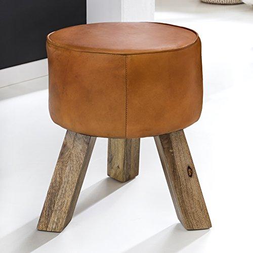 FineBuy Design Sitzhocker FB45553 Holz 37x45x37 cm Modern Fußhocker Rund | Turnbock Lederhocker Holzbeine | Hocker Massivholz mit Leder | Kleiner Fußhocker Gepolstert | Holzhocker mit Echtleder Braun