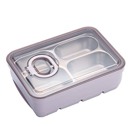 jklj Cajas de Almuerzo 304 Caja de sándwich de Almuerzo de Acero Inoxidable Caja de Almuerzo con Capas Sellado Compartimento a Prueba de Fugas Caja aislada para niño