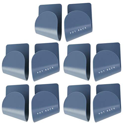 Cabilock - 5 pares de tapas para cacerolas, soporte de pared para sartenes, tapas autoadhesivas, para el hogar, cocina, color azul