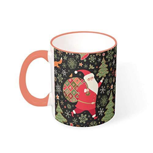 O4EC2-8 11 Unze Christmas Flower Getränke Kakao Becher Tasse mit Griff Keramik Personalize Tassen - Chanukka Geschenk, für Restaurant verwenden Persimmon 330ml