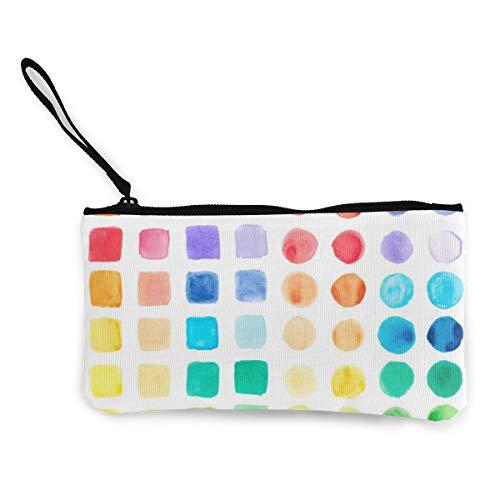 Wrution Aquarellfarbe Palette Canvas Münztasche Reißverschluss kleine Geldbörse weiblich tragbar große Kapazität individuell