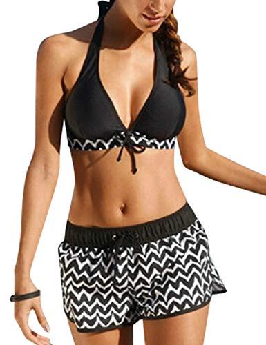 heekpek Costume da Bagno con Pantaloncini Donna Due Pezzi Donna Halter Sexy Bikini Set Patchwork Costumi da Bagno Capestro Imbottito Push Up Spiaggia Mare Estate Beachwear