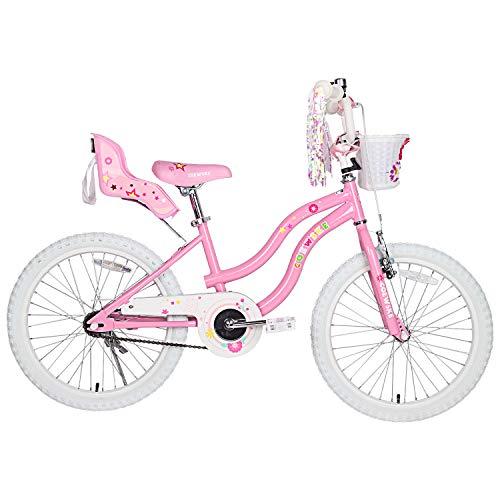 COEWSKE Kid's Bike Steel Frame Children Bicycle Little Princess Style 12-14-16-18-20 Inch with Training Wheel (Pink Without Training Wheels, 20 INCH with Kickstand)