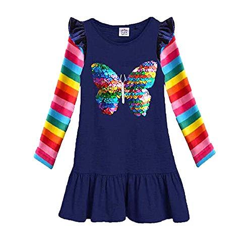 DXTON Mädchen Kleider 100% Baumwolle Kleid Langarm Blau LH5880 2-3Y/98cm