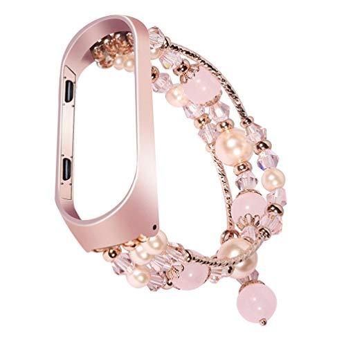 Hemobllo Ersatzarmband Kompatibel mit Mi Band 4,Atmungsaktives Kristall Perlen Uhrenarmband Crystal Pearl Ersatzarmband Eleganter Wechselarmband