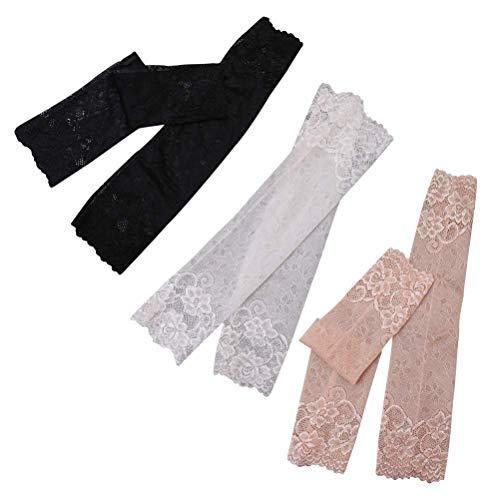 LIXBD Elastische Ellenbogen-Bandage aus Spitze, atmungsaktiv, dehnbar, für Sonnenschutz, 3 Paar, Khaki, Schwarz, Weiß (Farbe: Bild 1, Größe: M)