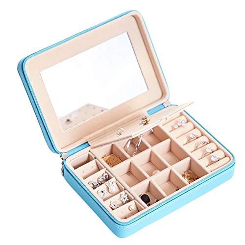 SASCD Caja de joyería Organizador Mostrar Almacenamiento Cuero Grande Espejo Grande Collar multifunción Pendiente Caja de Anillo para joyería de joyería para niñas (Color : Blue Mirror)