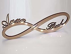 Unendlichkeitszeichen mit Led Licht (Echt Holz) und Wunsch Name - Geschenk zB Geburtstag Hochzeit Verlobung Jahrestag Kinder Familie Liebe Geldgeschenk Jubiläum Goldene Silberne (Mit Datums-Gravur)